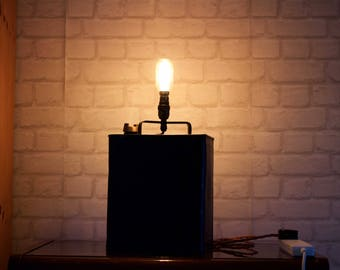 """Vintage Petrol 'JERRY' Can Desk Lamp with Vintage ONE PRE Bulb by """"Timber Bros""""."""