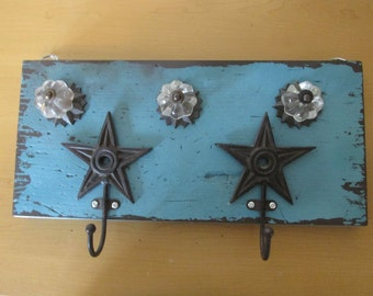 Shabby Chic Teal and Brown Jewelry Wall Hanger