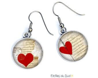 Boucles d'oreilles saint Valentin, fête des amoureux, coeur rouge, ref.302
