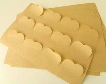 "12 sticky labels ""Hearts"" Kraft 3.8 cm * 3.4 cm"