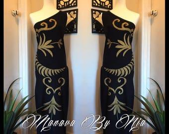Manava By Nia Gold on Black dress