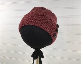 Burgundy Knit Baby Hat