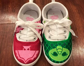 PJ Masks inspired toddler shoes: Owlette and Gecko