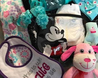 Custom Made order/ Diaper Bag/ Filled with Goodies!