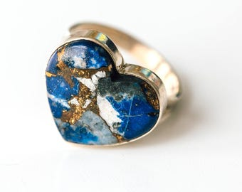 All Natural • solid sterling SILVER • Afghani Lapiz Lazuli with Natural Copper Inclusions • Size 10