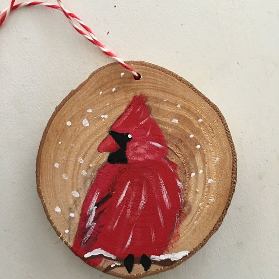 Cardinal Christmas Ornament - Wood Slice Ornament - Rustic Christmas Ornament