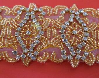 """Crystal Rhinestone Trim by the Yard-Wholesale Silver or gold Bridal Trim- rhinestone banding- 2"""" Crystal Trim -Rhinestone Applique"""