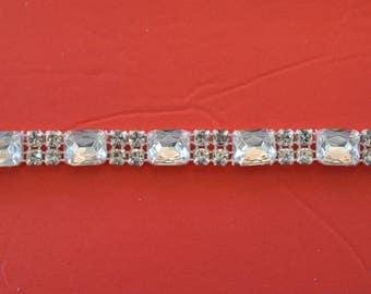 "Crystal Rhinestone Trim by the Yard-Wholesale Silver Bridal Trim- rhinestone banding- 3/8"" Crystal Trim - made in Czech Republic"