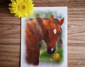 Wall Art, Chestnut Horse with flower, Print Illustration