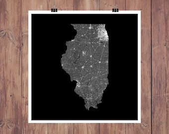 Illinois Roads High Resolution Digital Print / Map of Illinois / Illinois Print / Illinois Wall Art / Illinois Poster / Illinois Map Art