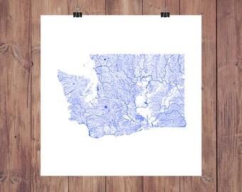Washington Map - High Res Map of Washington Rivers / Washington Print / Washington Art / Washington Gift / Washington Decor / Seattle Map