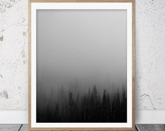 Black and white photography, Black and white print, printable art, Fine art photography, Home decor, Forest decor, Mist forest print, FM-091