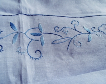 Vintage coat lavender blue linen embroidered perforated monogrammed tablecloth perforated embroidered linen monogrammed blue lavender