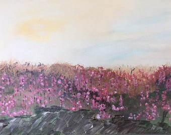 "Pink Flower Field - wall décor acrylic painting, 11""x14"" canvas stretched/wrapped on 5/8"" bars"