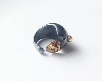 ARP-03: sterling silver carved ring oxidized and gold