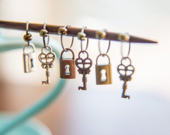 Steampunk Inspired Mixed Metal Lock and Key No Snag Stitch Markers - Set of 6