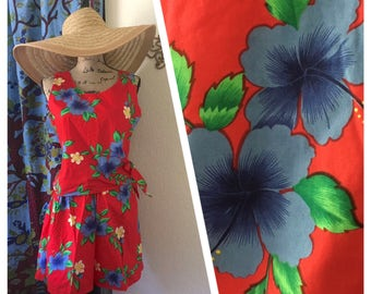 Vintage 80's Hawaiian Playsuit sz Large