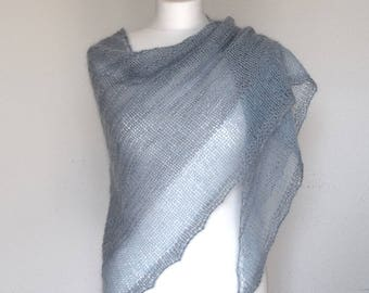 Hand knit mohair shawl, Light blue triangle shawl, Women's merino wool wrap, Triangle knit wrap, Soft wool shawl