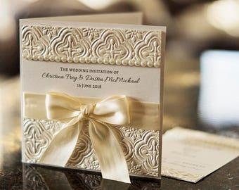 Luxury Wedding Invitation | Romantic Embellished Wedding Invitation | Folded Wedding Invitation | Wedding Invitation Ensemble