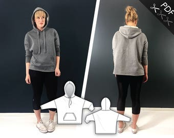 XS-XL Boxy hoodie sweatshirt with kangaroo pocket (PDF sewing pattern for knits) Kommatia Patterns