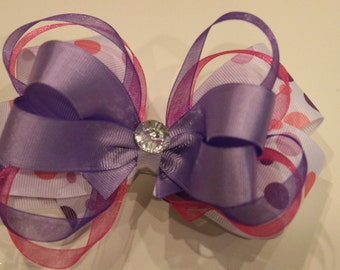 Pink and Purple Polka-dot Hair Bow