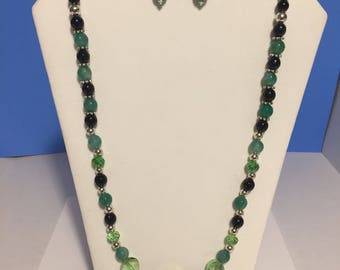 Green and Black Beaded Necklace and Earrings