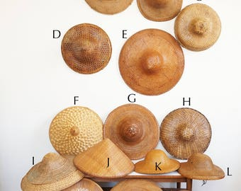 15 hats Asian Chinese vintage rattan wicker bamboo