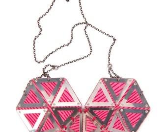 Pink heart pendant, Geometric fashion necklace, big unique textile necklace, futuristic statement necklace, chic modern necklace for women