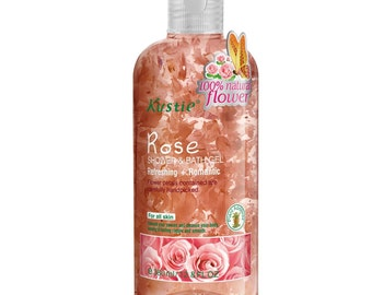 Biofinest-Kustie Rose Flower Petals Shower and Bath Gel - Handpicked Natural Flower Petals - Rose Essential Oil -