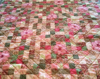 Shabby Chic Patchwork Handquilted Quilt