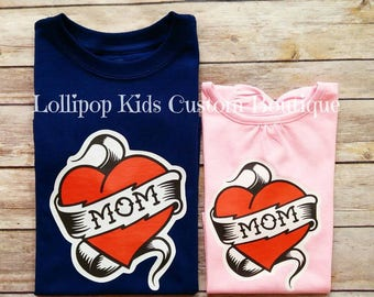 MOM tattoo heart WHITE short sleeve shirt. (Please message me first prior to purchase to request a different color tee or wording)