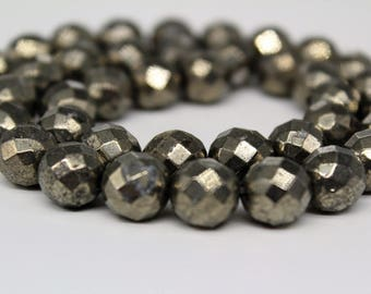 Faceted Pyrite Gemstone Round Loose beads 2/3/4/6/8/10/12mm