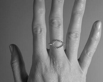 Open Teardrop Ring, beaded teardrop ring, sterling silver teardrop ring, minimal sterling silver ring, open silver ring, teardrop ring