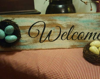 NEW! Teal and White Welcome Spring Sign with Robin's Nest