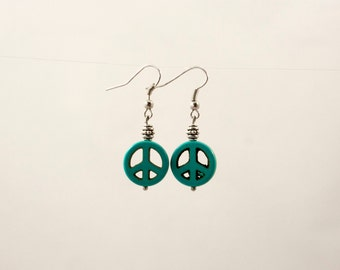 Peace sign earrings turquoise color stone w/tiny silver tone bead