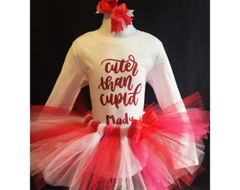 "Valentine's Day ""Cuter than Cupid"" Baby / Toddler / KidTraditional Tutu + Shirt / Top + Bow Party Outfit"