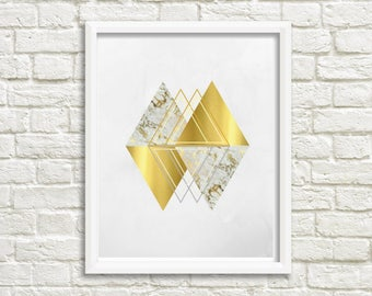 Gold and Gray Geometric Print - Triangles - Marble - Wall Art 8x10 - Office - Living Room decor - Digital Download
