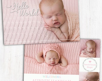 Photo Birth Announcement | Baby Birth Announcement | A6 | Double Sided | Card stock 350gsm | Girl | Printed Announcement | floral