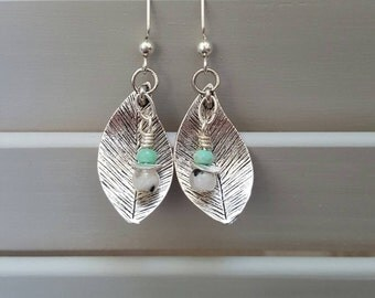 Leaf Earrings with Moonstone and Chrysoprase