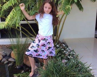 Tween girls skirt, pleated half circle skirt, fun skirt, funky skirt, floral skirt, fun floral skirt, pleated skirt, Summer skirt.