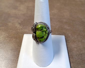 Bold Green Magnesite Ring 1192