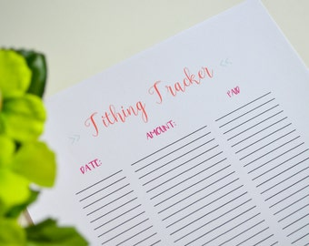 Tithing Tracker Printable, Tithing Printable, Budget Binder Printable, Household Binder Printable, Finance Planner, Budget Planner