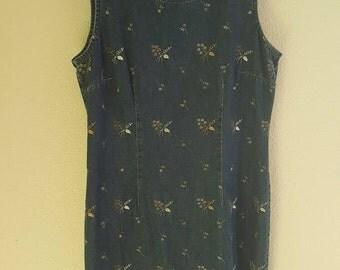 Vtg 90s Denim Embroidered Dress