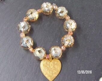 B1224 Crystal Beaded Bracelet with Heart Charm