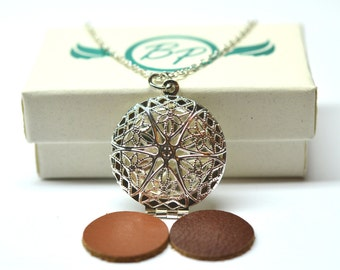 Bright Silver Filigree Essential Oil Diffuser Necklace // Aromatherapy Necklace // - With Choice of Essential Oil