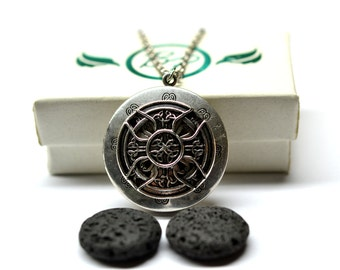 Celtic Cross Lava Stone Diffuser Necklace - With Choice of Essential Oil