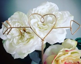 Heart & Arrow - Gold or Silver Wire Cake Topper for Birthdays, Weddings and Special Occasions