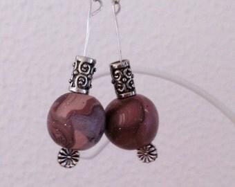 Earrings beige Brown of Fimo