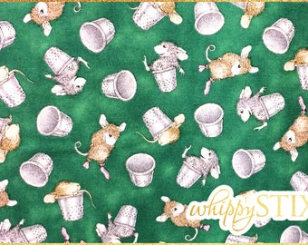 Mouse Fabric By the Yard, Ellen Jareckie House Mouse Designs Sew Much Fun Quilting Treasures 21659, BTY Green Mouse Thimble Fabric
