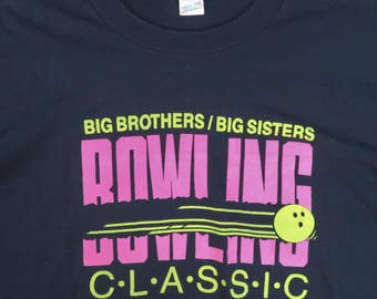 Screen Stars Vintage T-Shirt Big Brothers Big Sisters Bowling Classic Bright Colored Graphic XL Black Hot Pink & Yellow